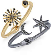 INC International Concepts 2-Pc. Set Astronomical Pave Crystal Hinged Bracelets, Created for Macy's
