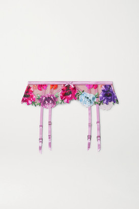 Fleur Du Mal Satin-trimmed Appliqued Stretch-tulle Suspender Belt - Lilac