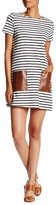 Soprano Faux Leather Pocket Striped Shift Dress