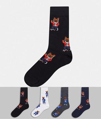 Jack and Jones 4 pack dog print socks in black