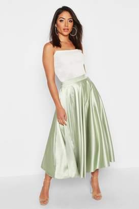 boohoo Satin Full Midi Skirt