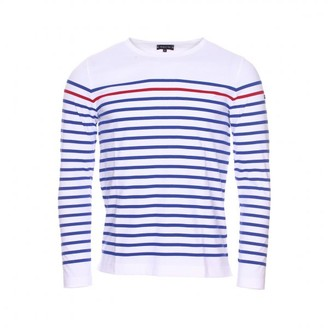 "Armor Lux Blue And White Breton 100% Cotton Striped Long Sleeved ""Rempart""Top With One Red Feature Stripe - 3 - White/Blue/Red"