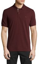 Burberry Check-Placket Piqué Polo Shirt, Deep Claret
