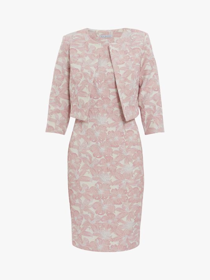 Thumbnail for your product : Gina Bacconi Genesia Jacquard Sheath Dress and Bolero, Pink