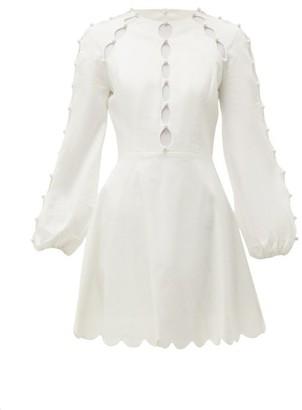 Zimmermann Goldie Scallop-cut Linen-blend Dress - Womens - White