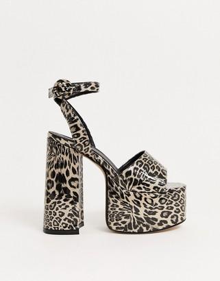 Lamoda platform heeled sandals in leopard glitter