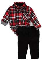 Andy & Evan Shirtzie Holiday Plaid Bodysuit, Corduroy Pants & Bow Tie Set