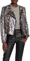 DOLCE CABO Faux Leather Snake Print Moto Jacket