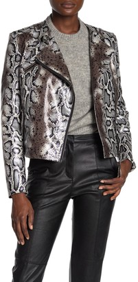 DOLCE CABO Faux Leather Snake Print Moto Jacket