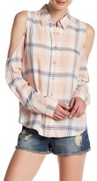 Blu Pepper Cold Shoulder Plaid Shirt