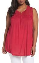 Sejour Plus Size Women's Crochet Yoke Sleeveless Top