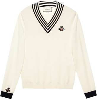 Gucci V-neck bee appliqué knit