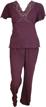 Damart Ex Plum Short Sleeve Cotton/Jersey Pyjama Set. RRP: 27. Sizes 10-24 (M (UK 14-16))