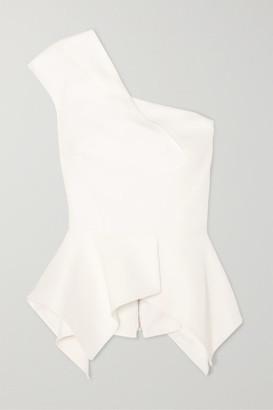 Roland Mouret Rodmell One-shoulder Crepe Peplum Top - White