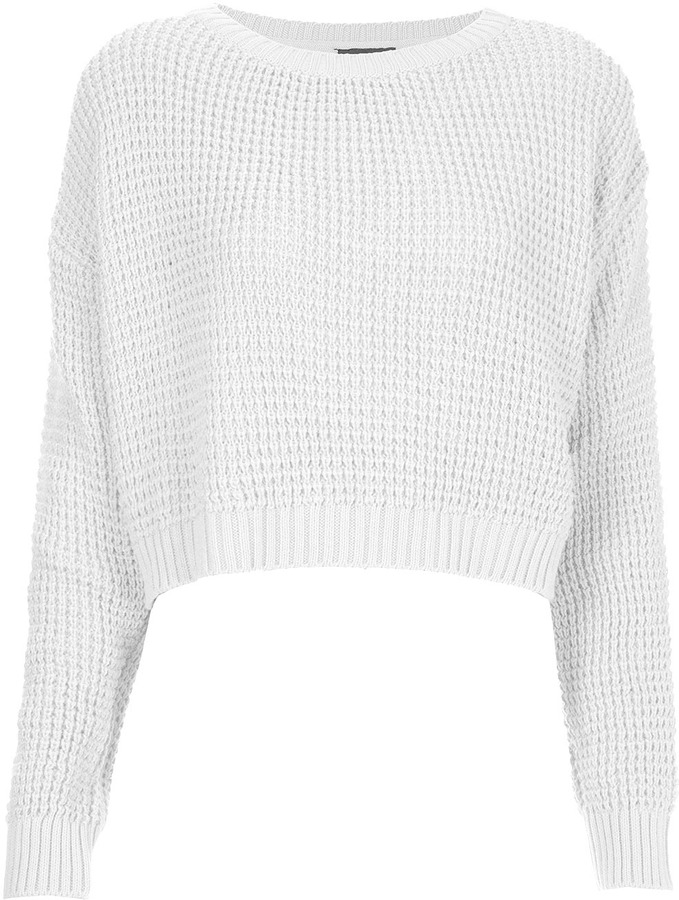 Topshop Knitted Textured Crop Jumper