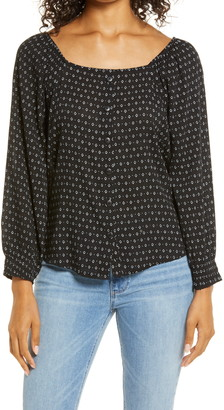 Caslon Print Button Front Long Sleeve Top