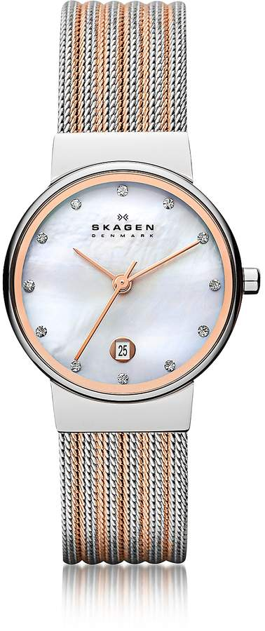 Skagen Ancher Two Tone Striped Stainless Steel Mesh Women's Watch