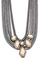 ABS by Allen Schwartz Two-Tone Front Crystal Multi-Strand Chain Necklace