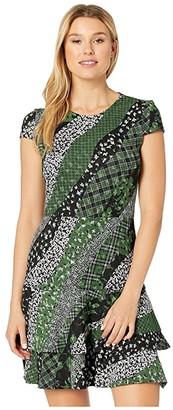 MICHAEL Michael Kors Bias Collage Double Tier Dress (Evergreen) Women's Dress