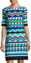 Eliza J Graphic-Print Half-Sleeve Shift Dress, Green/Blue