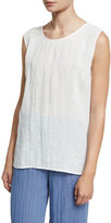 Caroline Rose Long Crinkled Linen Tank, White, Plus Size
