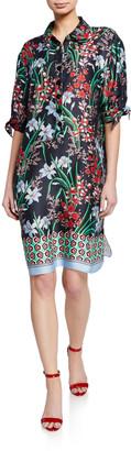 Rickie Freeman For Teri Jon Floral-Print Button-Front Elbow-Sleeve Shirtdress