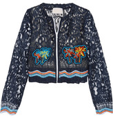 Peter Pilotto Cropped Crochet-trimmed Embroidered Lace Jacket - Navy