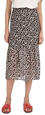 Gerard Darel Lea Floral Print Midi Skirt
