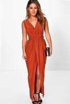 boohoo Petite Sarah Plunge Drape Maxi Dress copper