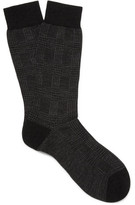 Pantherella Montague Prince Of Wales Checked Escorial Wool-blend Socks - Black