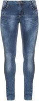 Zizzi Identity Plus Size Mid wash zip detail skinny jeans