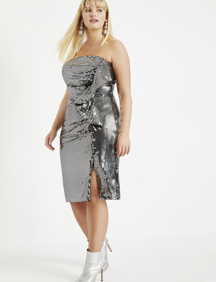 ELOQUII Strapless Dress with Exaggerated Ruffle