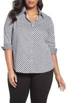 Foxcroft Plus Size Women's Status Print Non-Iron Shirt