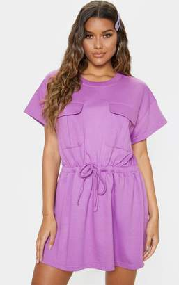 PrettyLittleThing Lilac Pocket Front Tie Waist T-Shirt Dress