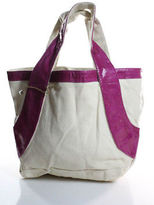 Beirn Cream Boat Canvas Pink Water Snake Tote Handbag New