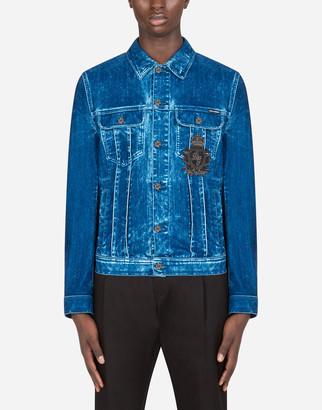 Dolce & Gabbana Washed Blue Stretch Denim Jacket With Patch Embellishment