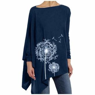 KPILP Ladies Cotton Linen Tops Long Sleeve Round Neck Dandelion Print Loose fit Irregular Hem Blouse Womens Casual Fashion Summer Crop Tops Tunic Tee Shirt Asymmetrical Hemline(Navy M)