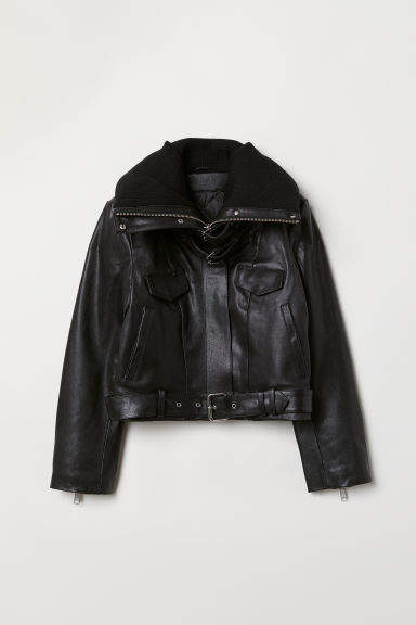 H&M Padded-collar Leather Jacket - Black