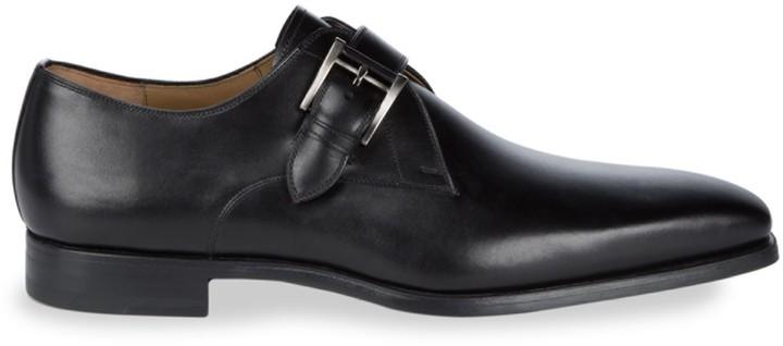 Magnanni Almond Toe Leather Monk Strap