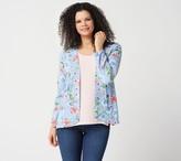Du Jour Floral Printed Long-Sleeve Open Front Blazer