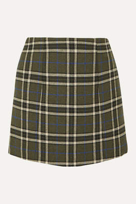 ALEXACHUNG Plaid Twill Mini Skirt - Army green
