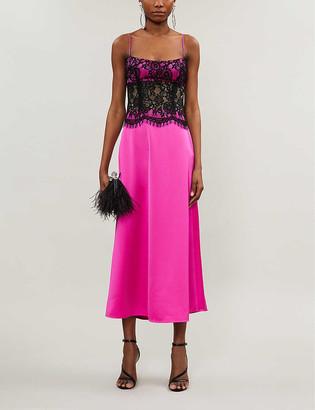 Rasario Lace-overlay crepe midi dress
