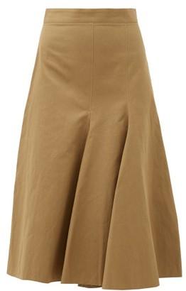 Joseph Barton Flared-panel Cotton-blend Skirt - Womens - Khaki