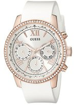 GUESS Women's U0616L1 Sporty Rose Gold-Tone Stainless Steel Watch with Multi-function Dial and White Strap Buckle