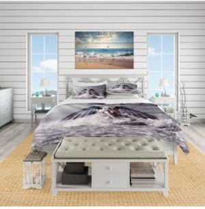 Design Art Designart 'Woman With Dark Angel Wings' Beach Duvet Cover Set - Queen Bedding