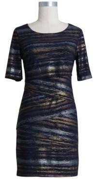 Connected Petite Metallic Sheer Sheath Dress
