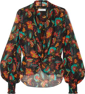 Caroline Constas Bette Shirred Floral-print Silk-chiffon Blouse
