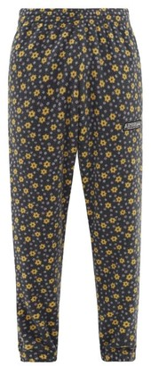 Martine Rose Logo-patch Floral Fleece Track Pants - Mens - Blue