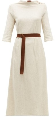 ALBUS LUMEN Taza Belted Cotton-blend Midi Dress - Nude