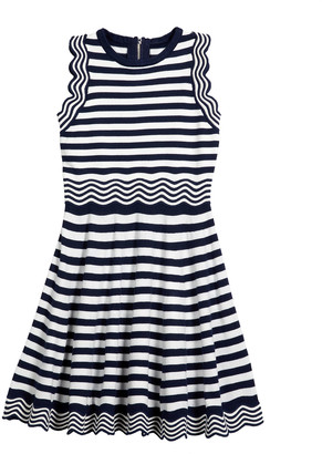 Milly Girl's Striped Knit Fit-&-Flare Wave Dress, Size 7-16